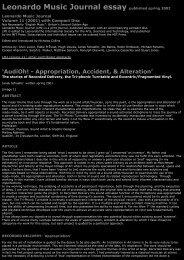 Leonardo Music Journal essay - An International Archive of Sound Art