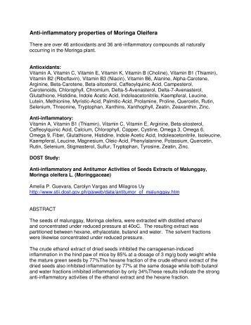 Anti-inflammatory properties of Moringa Oleifera - OLEIA