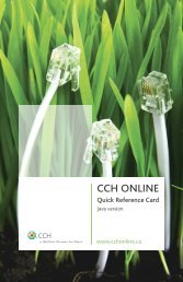 CCH Online Quick Reference Card - CCH Canadian