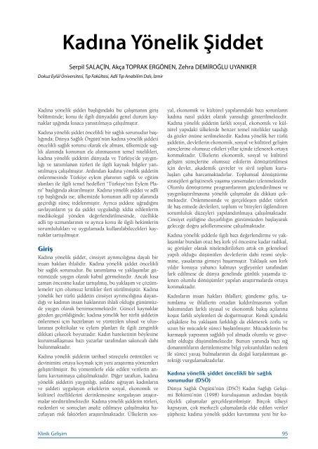 Kadına Yönelik Şiddet - Klinik Gelişim