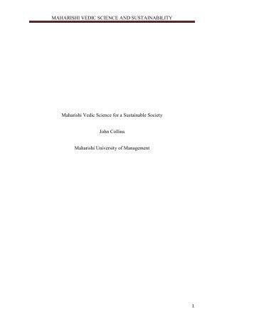 maharishi vedic science and sustainability - Maharishi University of ...