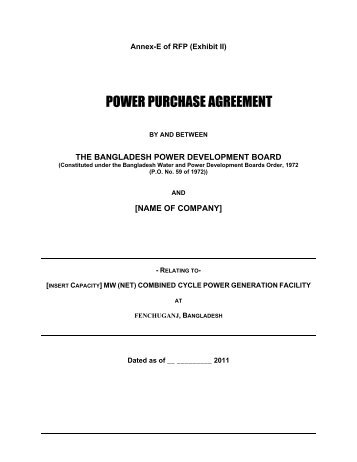 Power Purchase Agreement Ppa Produced For Pakistan Ppp In