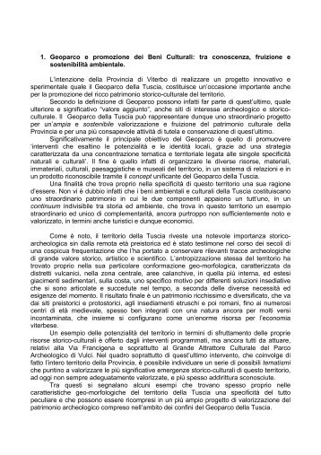 Geoparco e Promozione Beni Culturali - Provincia di Viterbo