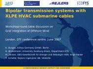 Bipolar transmission systems with XLPE HVAC ... - IEA Wind