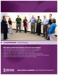 Leadership Seminars Brochure (PDF) - Life Cycle Engineering