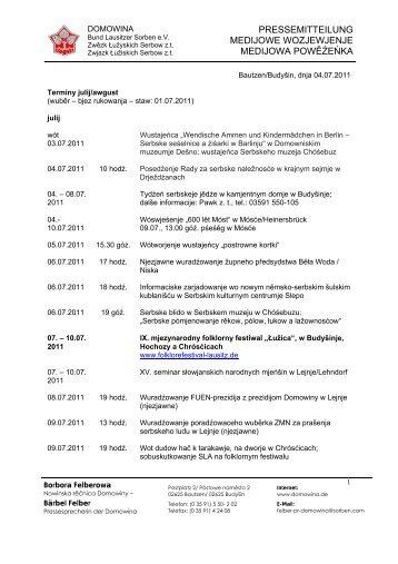 pressemitteilung medijowe wozjewjenje medijowa ... - Domowina