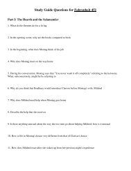 Study Guide Questions for Fahrenheit 451