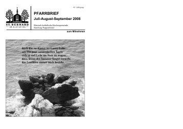 PFARRBRIEF Juli-August-September 2008 - St. Bernard