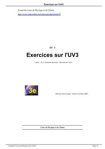 Exercices sur l'UV3 - Cours de physique et de chimie