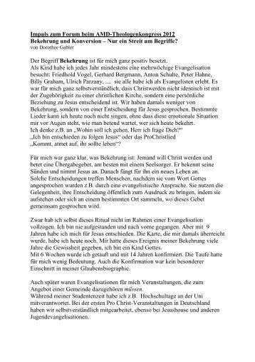 Impuls von Dorothee Gabler - Theologenkongress - AMD