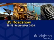 US Roadshow Presentation (PDF - 2.2 MB) - Leighton Holdings