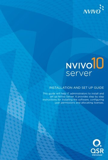 Installation and Setup Guide for NVivo Server 10 - QSR International