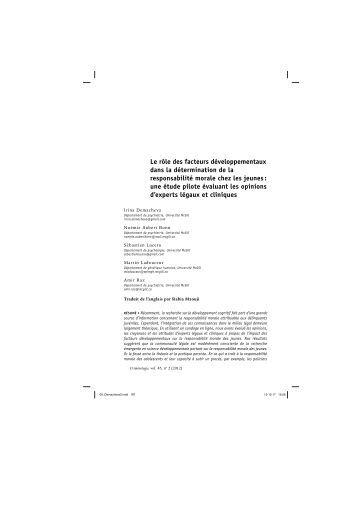 Le rôle des facteurs développementaux dans la ... - the Raz Lab