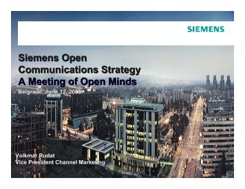 Siemens Open Communications Strategy A Meeting of Open Minds