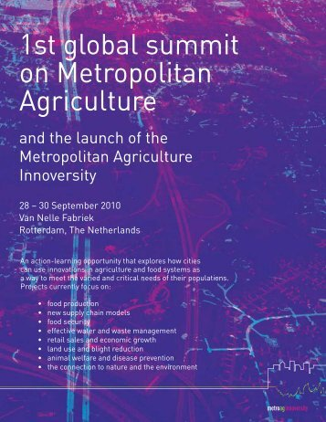 1st global summit on Metropolitan Agriculture - Reos Partners
