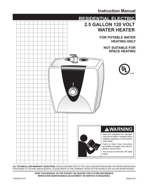 Instruction Manual Residential Electric 2 5 Gallon 120 Volt Water Heater