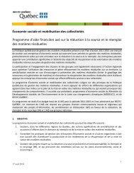 Économie sociale et mobilisation des collectivités - Recyc-Québec
