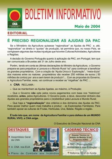 Boletim Informativo Maio de 2004 - CNA