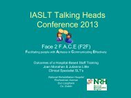 Facilitating people with aphasia in communicating effectively - IASLT ...