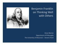 Benjamin Franklin on Thinking Well with Others - University of ...