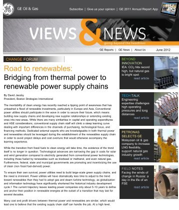 """GE Oil & Gas Newsletter - """"Road to Renewables - Bridging from ..."""