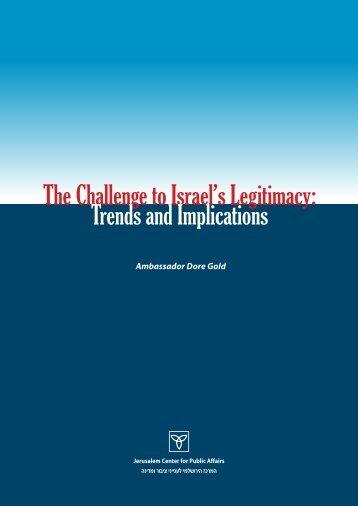 The Challenge to Israel's Legitimacy - Jerusalem Center For Public ...