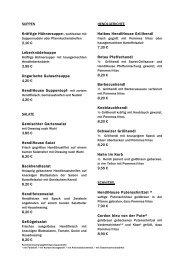 Restaurant-Karte. - HendlHouse