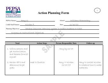 Subject Action Plans