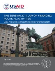 the serbian 2011 law on financing political activities - IFES