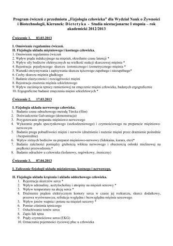 """Program ćwiczeń z przedmiotu """"Fizjologia człowieka"""" - Zakład ..."""