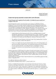 Press release - Ovako AB