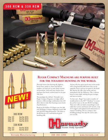 Hornady 300 and 338 Ruger Compact Magnum