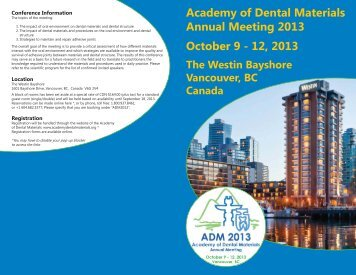 Academy of Dental Materials Annual Meeting 2013 October 9 - 12 ...