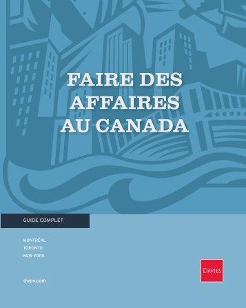 faire des affaires au canada - Davies Ward Phillips & Vineberg LLP
