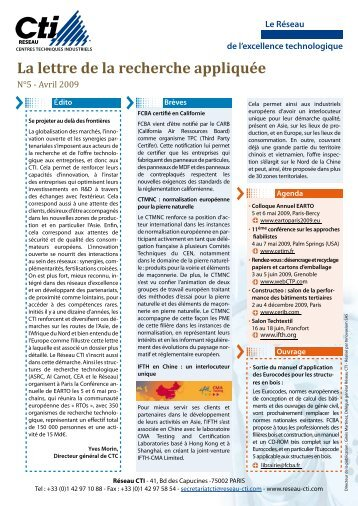 Lettre Recherche Appliquée n° 5 Avril 09 - Réseau CTI
