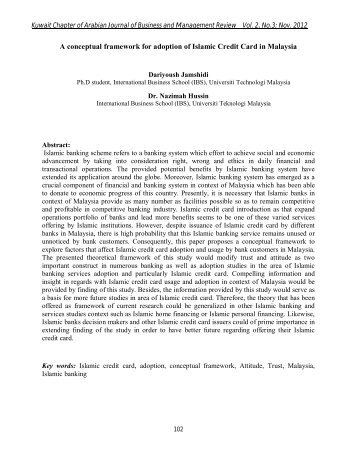 A conceptual framework for adoption of Islamic Credit Card in ...