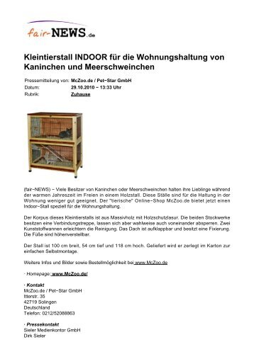 Kleintierstall INDOOR für die Wohnungshaltung von ... - fair-NEWS.de