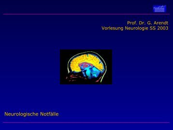 Neurologische Notfälle - Neurologische Klinik
