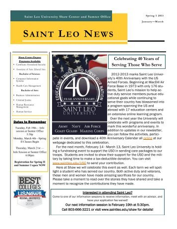SAINT LEO NEWS Celebrating 40 Years of Serving Those Who Serve