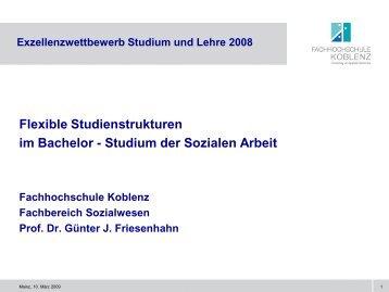 Flexible Studienstrukturen im BA-Studium der Sozialen Arbeit (Prof ...