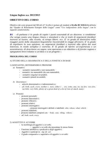 Programma del corso di lingua inglese 2012/2013 - Servizio ...