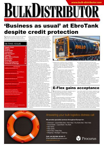'Business as usual' at EbroTank despite credit ... - Bulk Distributor