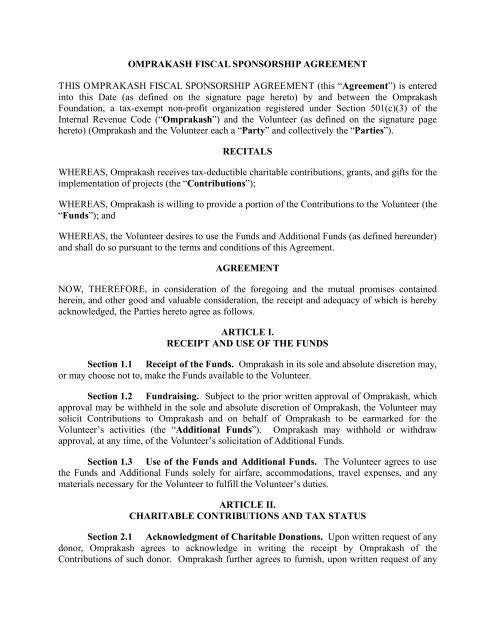 Fiscal Sponsorship Agreement Volunteerpdf Omprakash