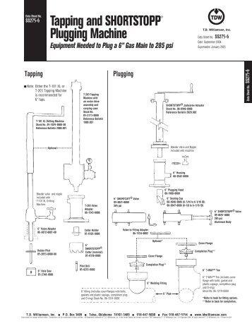 SHORTSTOPP® 275 6 Inch Data Sheet - T.D. Williamson, Inc.