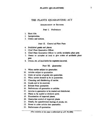 THE PLANTS (QUARANTINE) ACT
