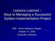 PMI Lessons Learned Keys to a Successful Implementation