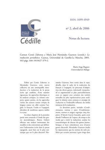 nº 2, abril de 2006 Notas de lectura - Çédille. Revista de estudios ...