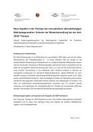 Neue Aspekte in der Therapie der neovaskulären altersabhängigen ...