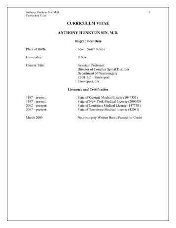 CURRICULUM VITAE ANTHONY HUNKYUN SIN, M.D.
