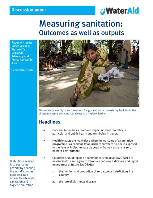 Measuring sanitation: Outcomes as well as outputs - WaterAid